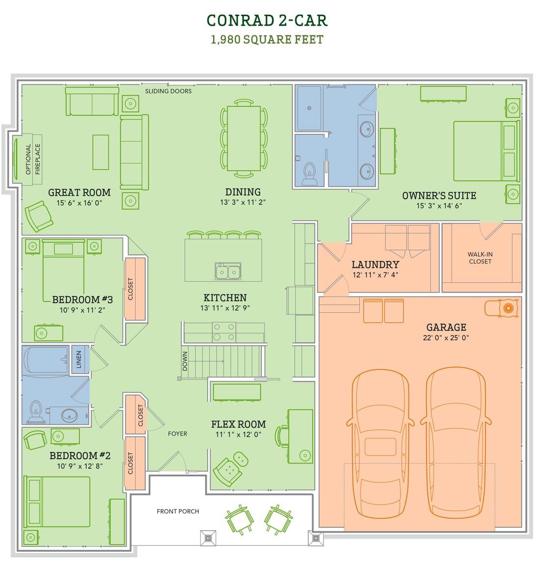 Award Winning Open Floor Plans: The Conrad Home Plan
